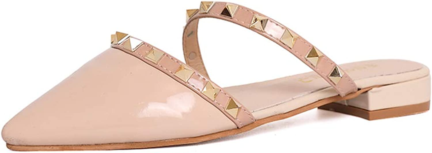 Dream-D 2019 Women's Pointed Slides Sandals Studs Chunky Low-Heeled Slippers shoes Casual Closed Toe