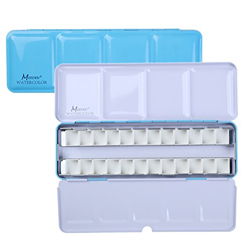 MEEDEN Empty Watercolor Tins Box Palette Paint Case, Medium Blue Tin with 24 Pcs Half Pans