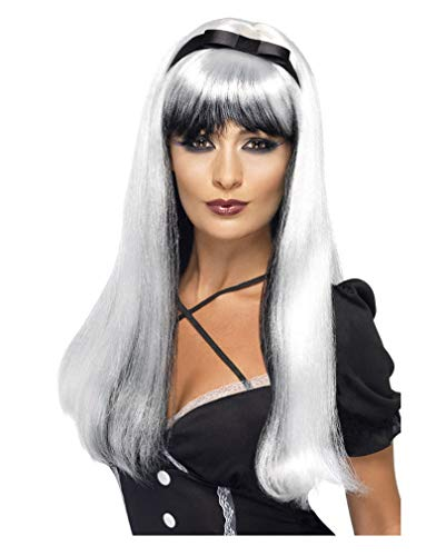 Horror-Shop Cosplay perruque de sorcière argent/noir