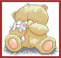 刺繡スターターキット刻印クロスステッチキット初心者簡単な面白いプレプリントパターンでDIY11CT刺繡のためのかわいいクマの動物の結婚式16x20インチ