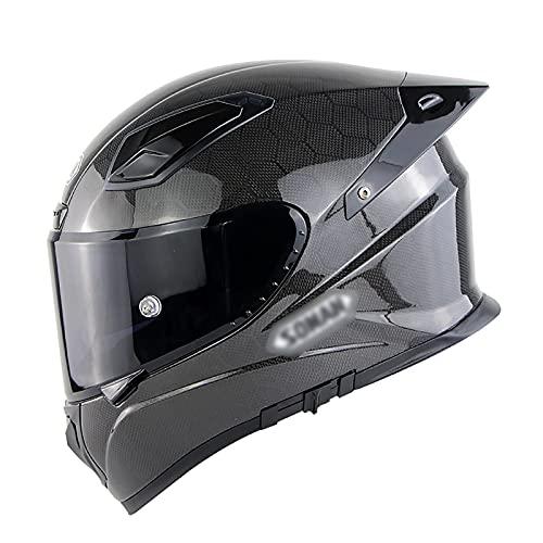 NINOMI Casco Integral De Fibra De Carbono, Casco De ProteccióN para Adultos Doble Visera Casco De Moto Motocicleta Scooter para Hombre Mujer EstáNdar Ece/Dot
