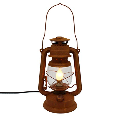 CVHOMEDECO. Primitives Rustic Distressed Iron Red Electric Metal Oil Lamp Vintage Table Lantern Decor, 11 Inch