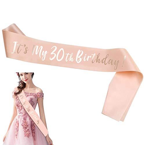 Cumpleaños Faja,RoadLooOro Rosa 30 Cumpleaños Sash Banda,Juego de Disfraz Feliz Cumpleaños para Mujer 30 Años Mujer Cumpleaños Fiesta de Decoración Accesorios Regalo(Estilo de 30 años) (1)