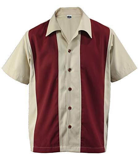 Rockabilly D600 Cabin Cabana - Camisa de entrenamiento para hombre, estilo vintage, diseño retro Beige/Rojo M