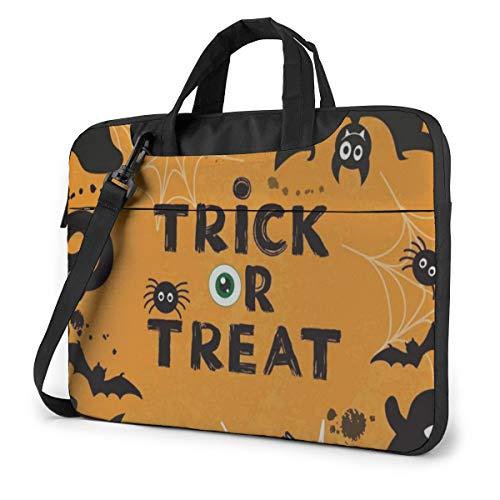 Halloween Witch Hat Spider Pumpkin Bat Trick Or Treat 14' Laptop Case Sleeve Briefcase Computer Shoulder Bag W/Strap
