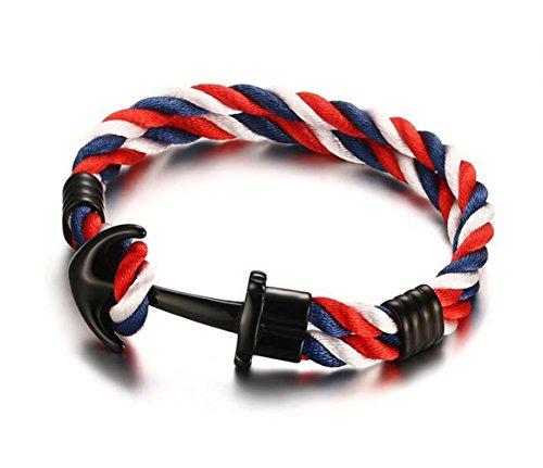 Gudeke 5MM tres colores de acero inoxidable gancho de anclaje de la cuerda de la pulsera del brazalete para el brazo, pulido