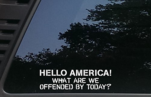 """High Viz Inc Hello America! What are we Offended by Today? - 8"""" x 2 1/4"""" die Cut Vinyl Decal for Cars, Trucks, Windows, Boats, Tool Boxes, laptops, etc"""