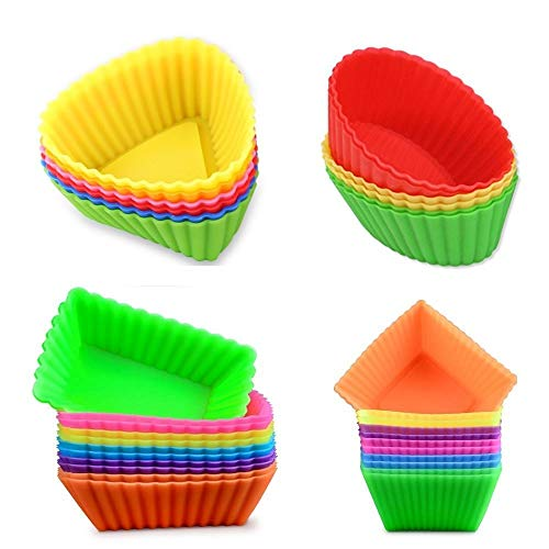 Kaptin 24pcs Silicone Muffin Baking Cups Cupcake Liners,Reusable Non-Stick Cake Molds Sets Multi-color (Square + Rectangle + Triangle + Ellipse)