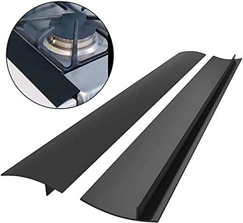LATRAT 25 inches Joint Silicone Gap Cover, Plan de Travail Cuisine Coque Silicone, Joint d'étanchéité, déversements Entre Les comptoirs, plaques de Cuisson (Paquet de 2) (Noir)