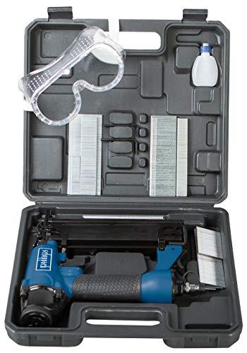 Scheppach Druckluftpistole 2in1 Klammer und Nagelpistole (Nägel bis 50mm, Klammern bis 40mm, Luftbedarf je Schuss 1,5L , Arbeitsdruck 8,3 bar, 360° Abluftführung) inkl. Zubehörset