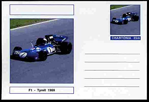 Chartonia (Fantasy) Formula 1 - Tyrell 1969 postal stationery card unused and fine TRANSPORT CARS F1 FORMULA 1 TYRELL JandRStamps