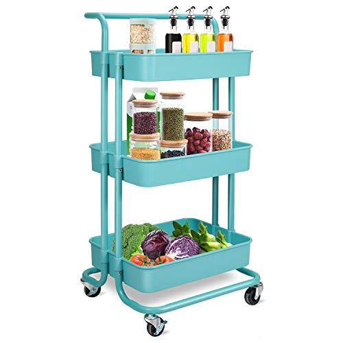 Wa-Very - Carro con ruedas 3 niveles, carro de almacenamiento para cocina, multiusos freno, soporte servir, estante almacenamiento, cesta carrito baño, habitación los niños, cuarto baño