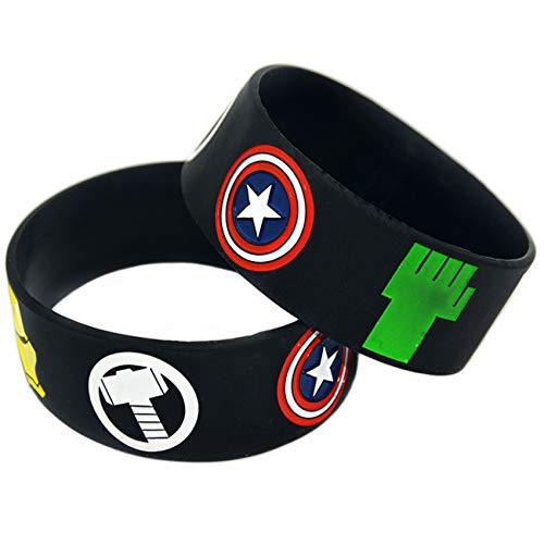 2 Unids Vengadores Pulsera Silicona Hierro Hombre Capitán América Thor Hulk Black Widow Hawkeye Pulsera Pulsera Círculo Perfectamente Inspire Fitness, Baloncesto, Buscando Deportes, Ejercicio Y Tareas