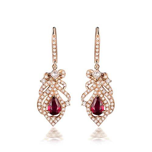 Daesar Pendientes Oro Rosa 18K Mujer,Flor con Gota de Agua Rubí Rosa 0.89ct Diamante 0.73ct,Oro Rosa y Rojo
