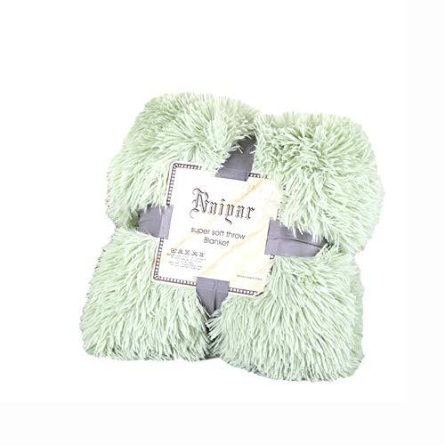 Colcha Kaisun 100% fibra de poliéster, ligera, mullida y larga, regalo para todas las estaciones, suave, felpa, cálida, perfecta para sofás (verde claro, 160 x 200 cm)