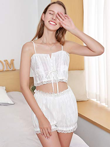 JFCDB Zomer pyjama,Dames Pyjama Katoen met korte broek Kanten rand Mouwloze band Effen Nachthemd Huiskleding voor Dames Sexy Lingerie Nachtkleding, No.1, M