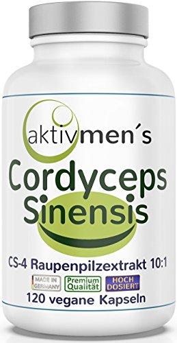 aktivmen´s Cordyceps sinensis hochdosiert + von Experten* geprüft + Vergleichssieger 2019** - 120 Vital Pilz Kapseln, Raupenpilz CS-4 Extrakt 10:1, 1 Dose (1 x 71,5 g) holt Euch Euren Cordyceps!