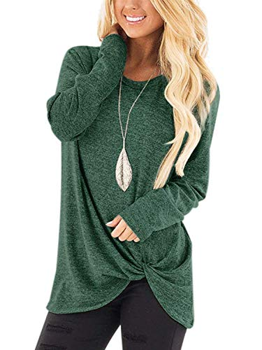 SAMPEEL Long Sleeve T Shirt Women Cute Side Knot Twist Tunic Tops Leggings Blouse Green L