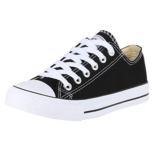 SCARPE VITA Damen Sneaker Low Canvas Schuhe Basic Turnschuhe Schnürer Freizeit Sportschuhe 172818 Schwarz White 38