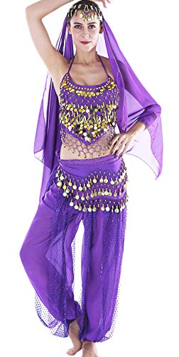 Seawhisper Faschingskostüme Damen Sexy Lila Orientalische Bauchtanz Halloween Fasching-Kostüme Chiffon