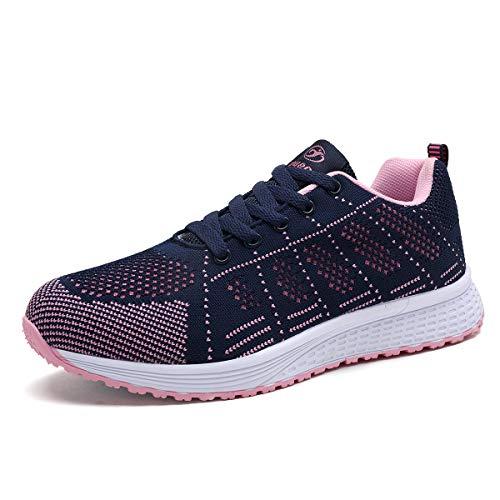Mujer Entrenador Zapatos Gimnasio Deportes Atléticos Zapatillas De Deporte Malla Informal Zapatos Para Caminar Encaje Plano Azul EU 40