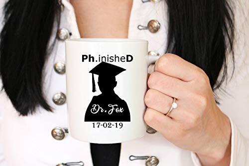 N\A Taza Personalizada de doctorado, Taza de café Phinished, Dr. Tazas, Regalo de Doctor, Taza de graduación, Nueva Taza de Doctor, Regalo de Estudiante de doctorado, Taza de doctorado, Dr. Phinished