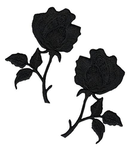 Blumen Rose Schwarz Set 2 Stück Aufnäher Bügelbild Trauer