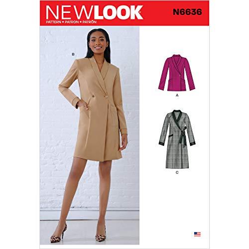 New look naaipatroon N6636 Misses' Jurken en Blazer, Papier, Wit, diverse