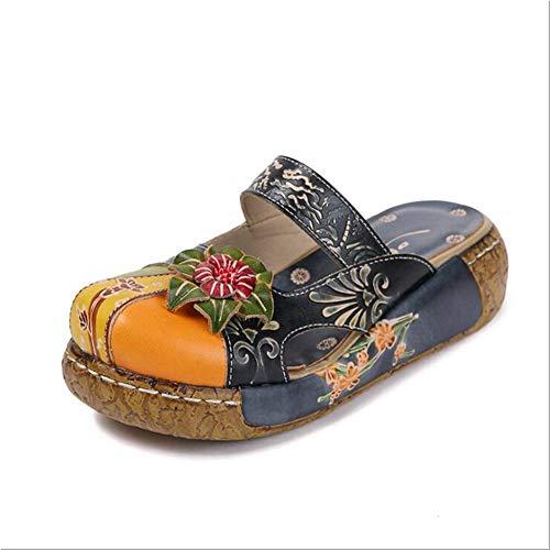 El Verano Cuña Piel De Vaca Baotou Sandalias Estilo Nacional La Flor Manual Fondo Grueso Cómodo Retro Mujer Los Zapatos,01,38
