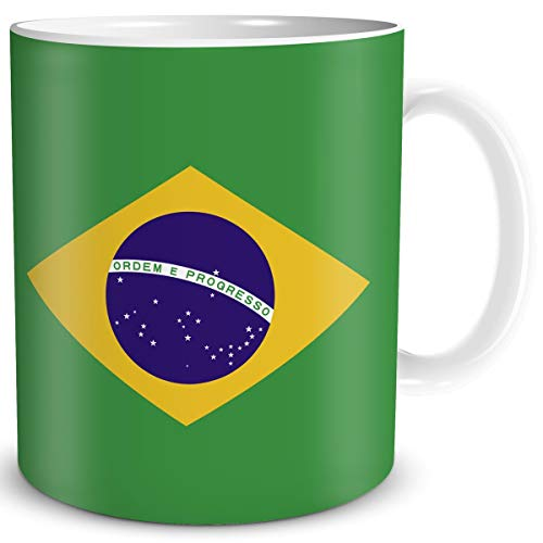 TRIOSK Tasse Flagge Brasilien Länder Flaggen Geschenk Südamerika Souvenir Brazil für Reiselustige Frauen Männer Arbeit Büro Weltenbummler