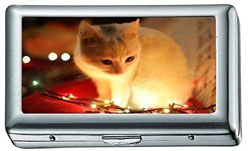 Weiße Katze Neben Weihnachtsbeleuchtung 7354 Zigarettenetui / -schachtel Visitenkartenetui Edelstahletui Silber Metall Geldbörsenschutz