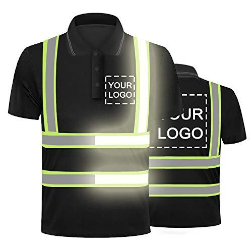 Hi-Vis Viz Visibilidad Seguridad Trabajo Polo Camisa Personalizada Su Logo En Alta Reflexiva Seguridad Camiseta Transpirable Ligero Trabajo Ropa Superior Negro Estilo negro 4 XXL