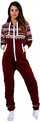 Juicy Trendz Damen Frauen Unisex One Zip Onesie Jumpsuit Playsuit Anzug H-Aztec-Wine - 2