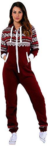 Juicy Trendz Damen Frauen Unisex One Zip Onesie Jumpsuit Playsuit Anzug H-Aztec-Wine - 2