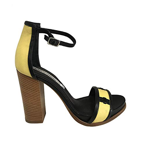 Alberto Fermani Sandale Glattleder Damen Schwarz/gelb Art 035 Made in Italy (Absatzhöhe; cm 9, Plateau: cm 1,5) (38 EU)