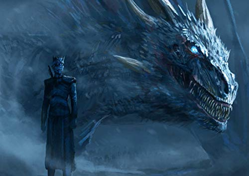 Poster Game of Throne Night King and Dragon Wall Art 01