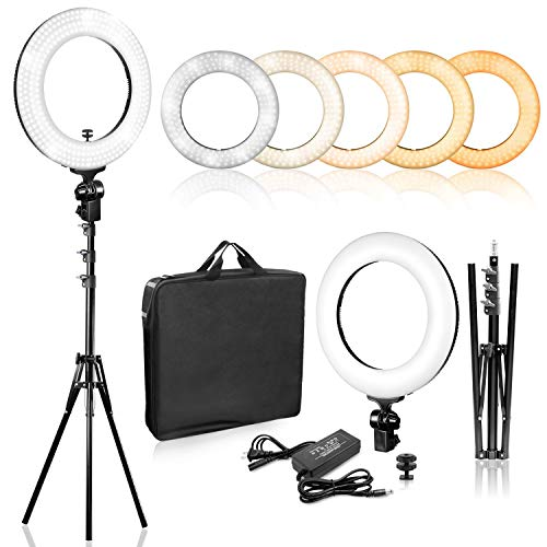 LimoStudio 14 inch Dimmable Ring Light LED Dual Color Continuous Lighting for Charming Eyes and Beauty Facial Shoot, Photo Studio Salons Beauty Shop Selfie Light Stand,AGG2860