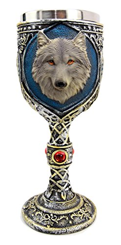 Ebros Gift Alpha Gray Wolf Celtic Magic 7oz Wine Chalice Goblet Cup Timberwolf Wolves Direwolf Pack Kitchen Party Hosting Decorative For Drinking Beverage