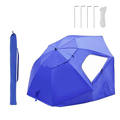 YUEN Sombrilla De Playa con Paneles Laterales Tipo Tienda Y Paravientos, UPF+50 Protección UV, Antiviento Y Transpirable 240cm