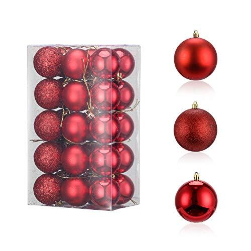 LessMo 30 Stück 4cm Weihnachtskugeln, Bruchsicher Kunststoff Christbaumkugeln, Weihnachtsbaum Deko Baumschmuck zum Aufhängen für Weihnachten Hängedekorationen Festival Feiertagsdekoration