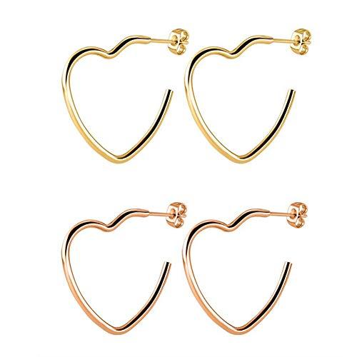 2 Stück Frauen Herzförmige Edelstahl Ohrringe Übertrieben Hohlen Rotgold Herz Creolen Liebe Kreis Ohrringe Schwarzgold Silber Anhänger Ohrringe,A,25mm