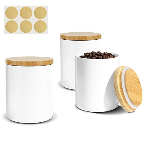 ComSaf Ceramic Food Storage Canisters with Airtight Bamboo Lid (17oz/500ml) Set of 3, White Food Storage Jar Containers with Seal Wood Lid for Kitchen Pantry Serving Flour, Sugar, Cereal and Snacks