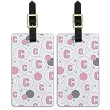 Juego de 2 etiquetas de identificación para maleta de equipaje, con letra inicial para bebé y niña, color rosa
