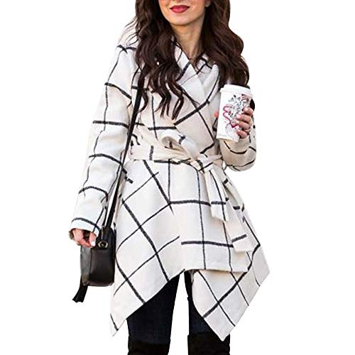 Chicwish Women's Turn Down Shawl Collar Open Front Off-White Grid Asymmetric Hemline Wool Blend Coat