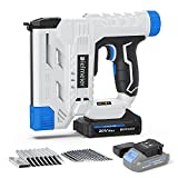 Bielmeier 20V Cordless Brad Nailer, 18 Gauge 2 in 1 Nail Gun Battery Powered, 2.0Ah Electric Staple Gun for Upholstery and Carpentry, Include Battery, Charger, Staples, and Nails