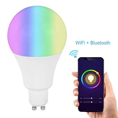MAGT Smart WiFi Birne, Bluetooth LED Farbwechsel Glühbirnen RGB Dimmen Farbwechsel für Alexa/Google/Home/IFTTT/Tmall Genie(E14)
