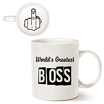 MAUAG Funny Bosses Day Gifts Best Boss Coffee Mug World s Greatest Boss Cup White Best Office idea for Manager 11 Oz