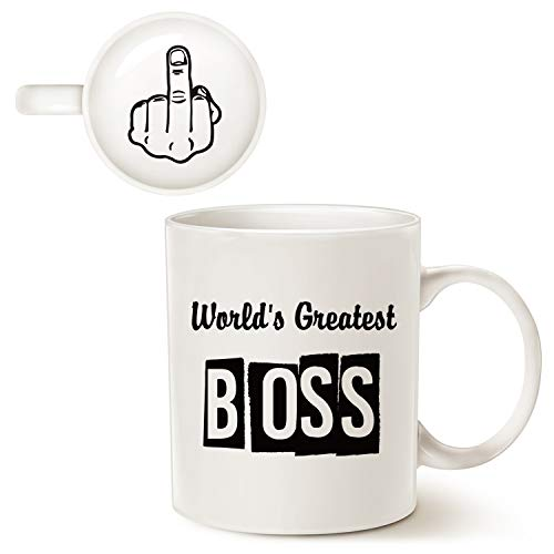 MAUAG Funny Best Boss Office Coffee Mug for Bosses Day, World's Greatest...