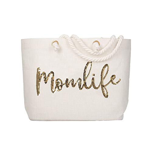 ElegantPark Mom Gifts for Mom Life Beach Bag Mothers Day Gifts for Mom Tote Bag Birthday Christmas Baby Shower Gifts for New Mom Jute Gold Sequin with Interior Pocket