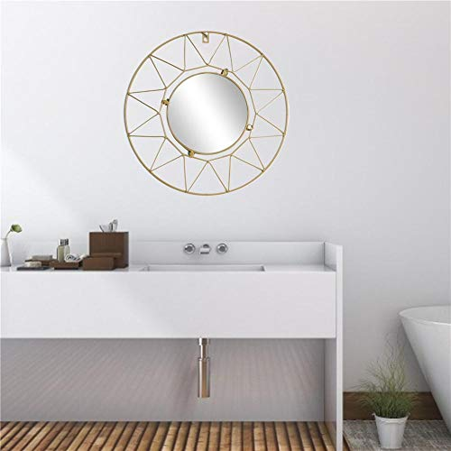 Dream-cool Espejo de pared colgante de metal dorado Starburst de 16